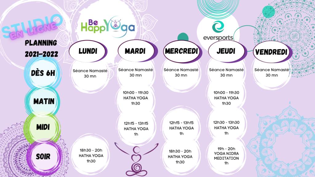 Planning Be HappYoga en ligne 2021.2022